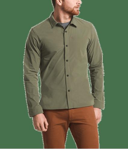 3SOH21L-camisa-masculina-manga-longa-verde-north-dome-detal2